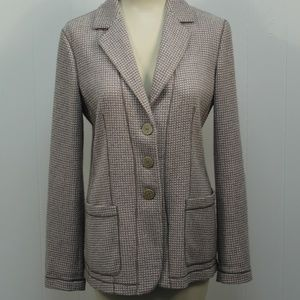 Giorgio Armani Tan Cashmere Blazer 6 Pockets Plaid